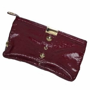 Jimmy Choo Bags - Jimmy Choo Patent Leather Clutch Maroon Red Gold